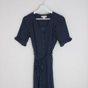 Navy Midi Dress with Ruffle Sleeves & Sash